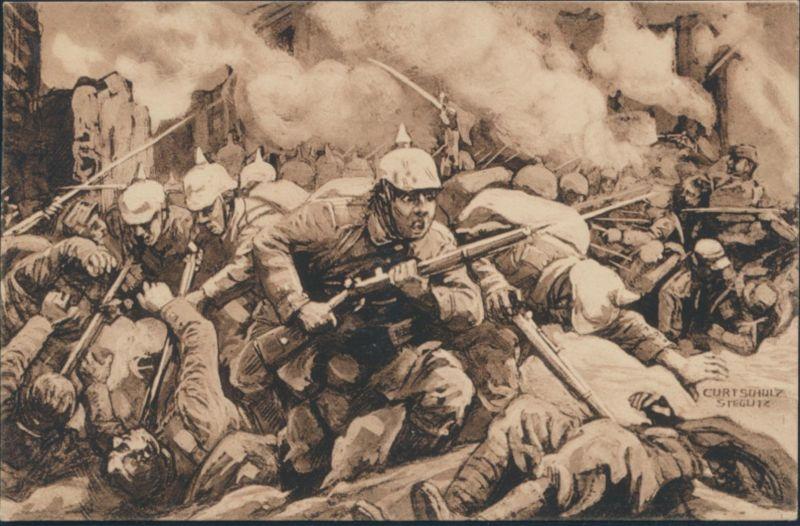 Ansichtskarte Künstler Curt Schulz 1. Weltkrieg Strassenkampf in Lille 1914/15