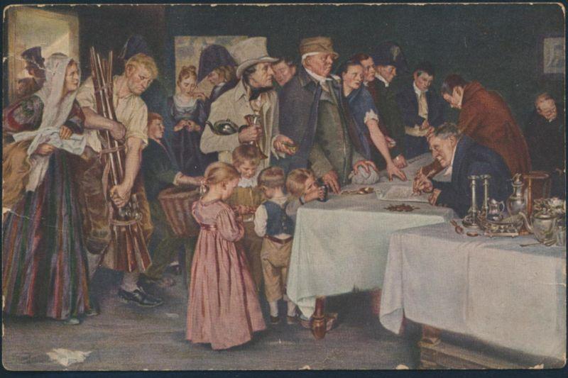 Ansichtskarte Künstler Bahnpost Osnabrück-Löhne nach Bielefeld 1914 Volksopfer 0