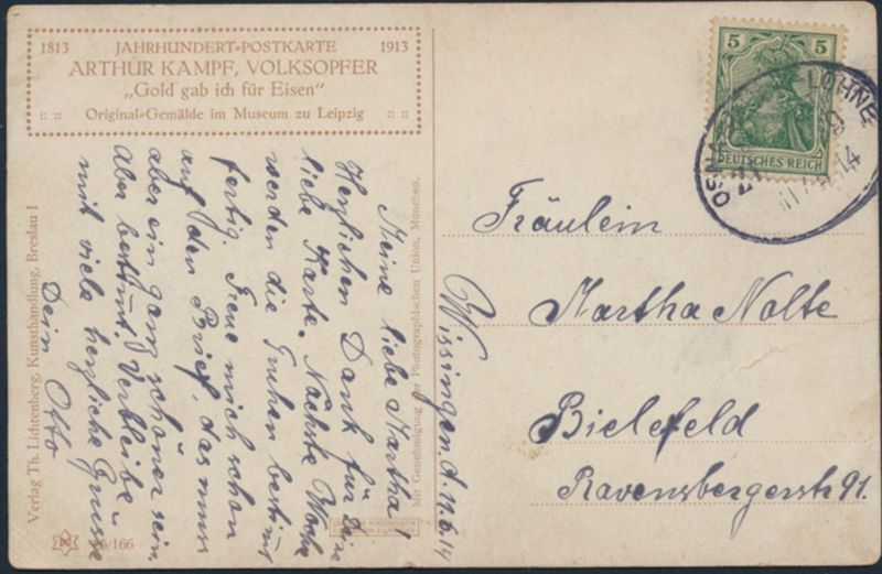 Ansichtskarte Künstler Bahnpost Osnabrück-Löhne nach Bielefeld 1914 Volksopfer 1