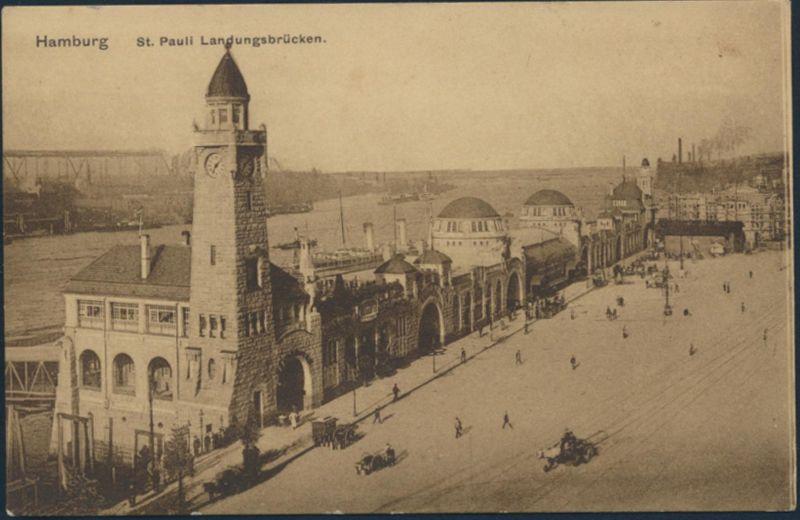 Ansichtskarte Foto Hamburg St. Pauli Landungsbrücken 1911 Passanten Kutsche 0