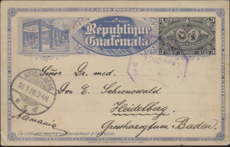 Guatemala Ganzsache P 9 Ausstellung Exhibition postal stationary n Heidelberg 0