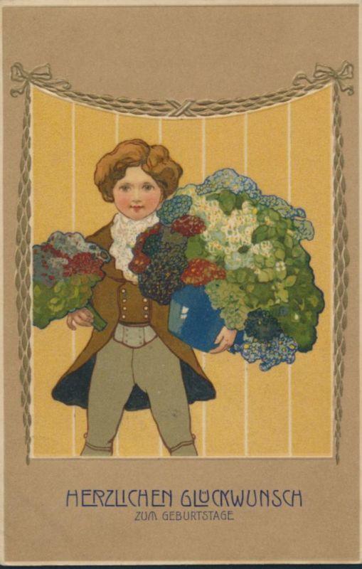 Ansichtskarte Jugendstil nach Dresden 1908 Junge mit Blumengruß Geburtstag 0
