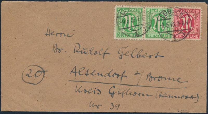Bizone AM-Post Brief MIF19 B Paar +24 A Lübeck nach Altendorf bei Brome 9.5.1946 0