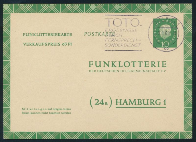 Bund Ganzsache FP 7 a Funklotterie TOTO Fernsehlotterie Kiel 1960 n. Hamburg