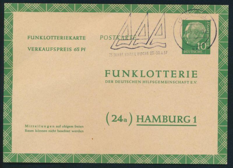 Bund Ganzsache FP 6 a Funklotterie Werbestempel Kieler Woche 1957 0