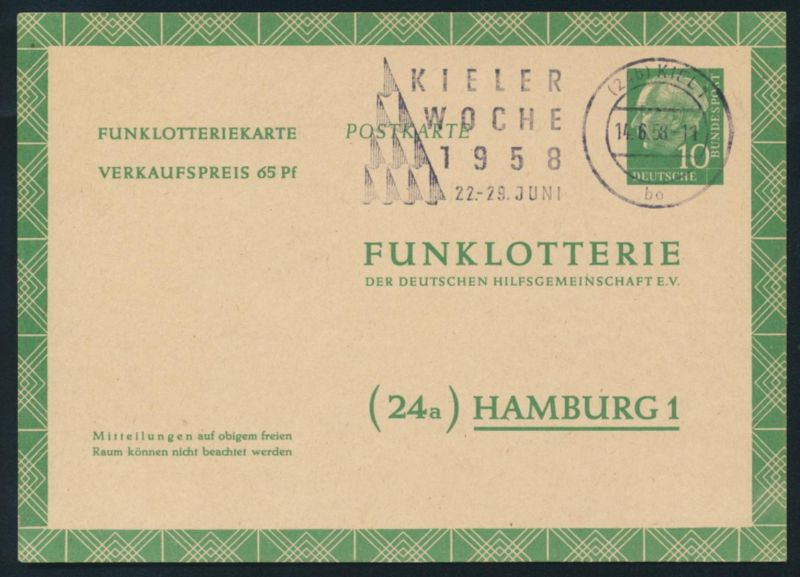 Bund Ganzsache FP 6 a Funklotterie Werbestempel Kieler Woche 1958