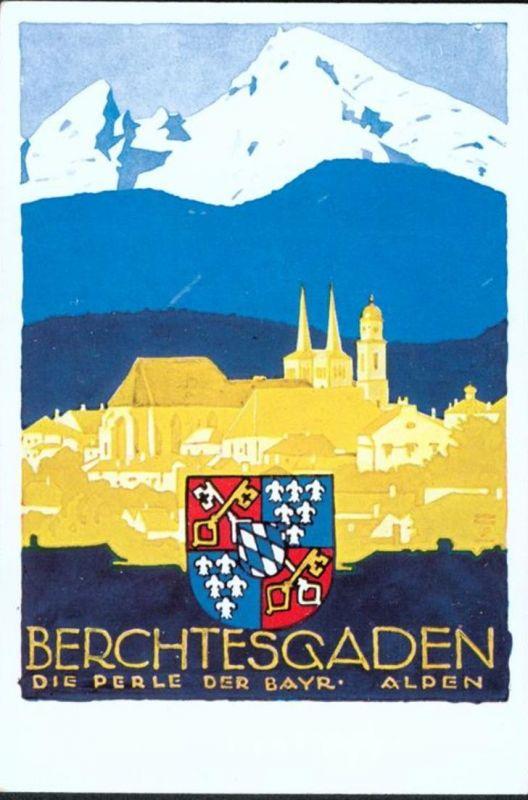 Ansichtskarte Art Deco Künstler sign. Ludwig Hohlwein Berchtesgaden Alpen selten