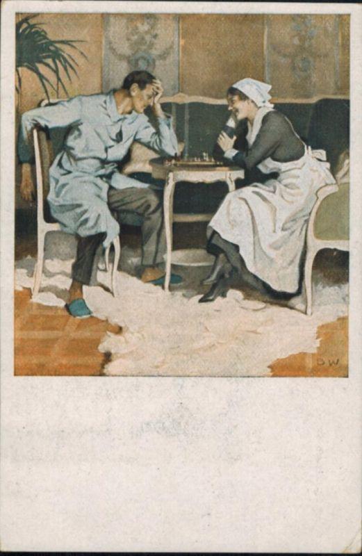 Ansichtskarte Feldpost Schach Frauen Liebe Künstler sign. B. Wennerberg  1917