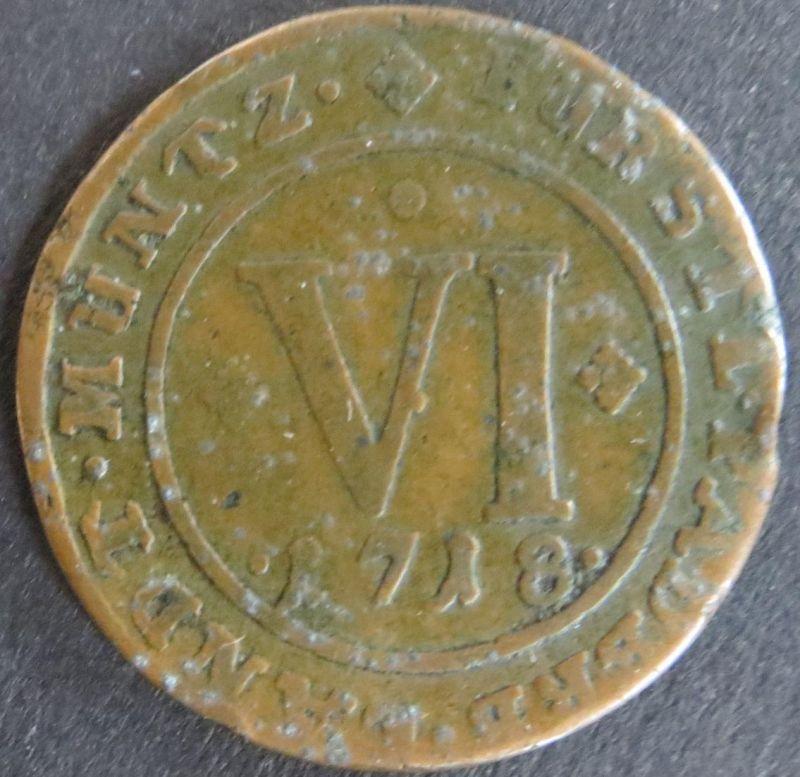 Münze Paderborn 1718 - VI Pfennig Gekröntes ovales Wappen ss