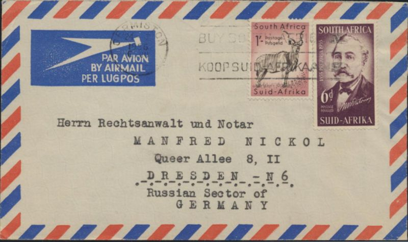 Brief Südafrika Luftpost MIF 247+254 Germiston nach Dresden 24.1.1956