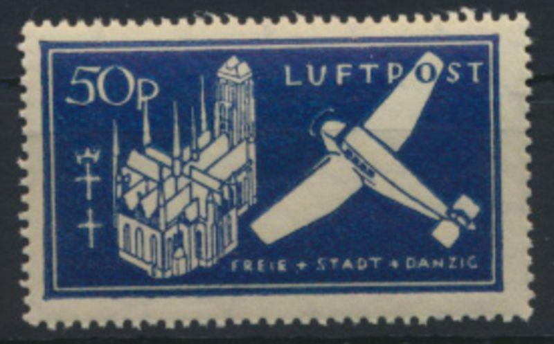 Danzig 271 b Einzelmarke Block 2 Flupost Luxus postfrisch MNH Kat,-Wert 6,50