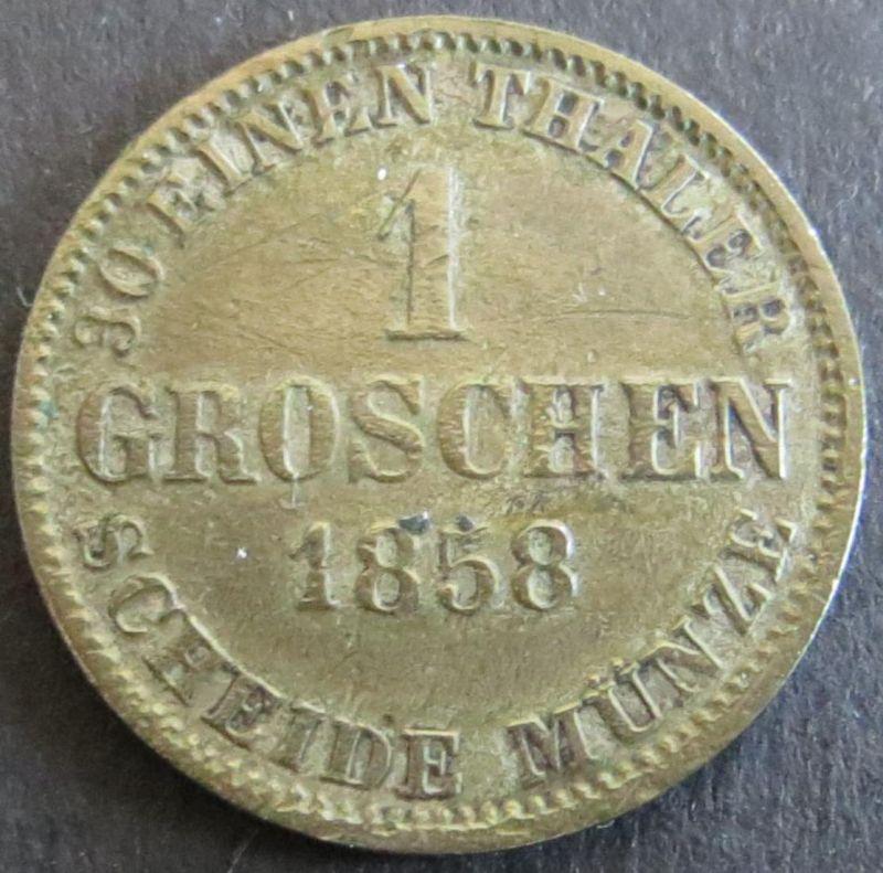Münze Braunschweig 86 - 1 Groschen Sachsenroß 1858 Scheidemünze Bronze ss
