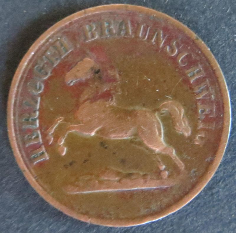 Münze Braunschweig 90 - 2 Pfennig Scheidemünze 1859 Sachsenroß Kupfer ss