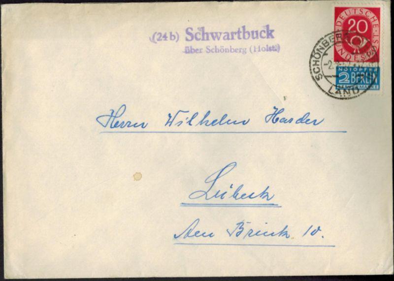 Brief Bund Posthorn Landpoststempel Schwartbuck Schönberg Schleswig n. Lübeck
