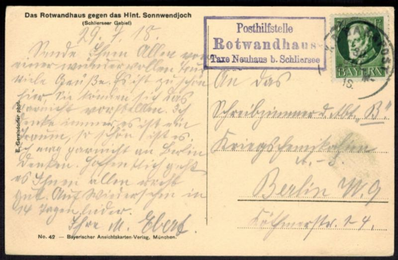 Ansichtskarte Rotwandhaus Stempel Posthilfstelle Taxe Neuhaus b Schliersee 1918