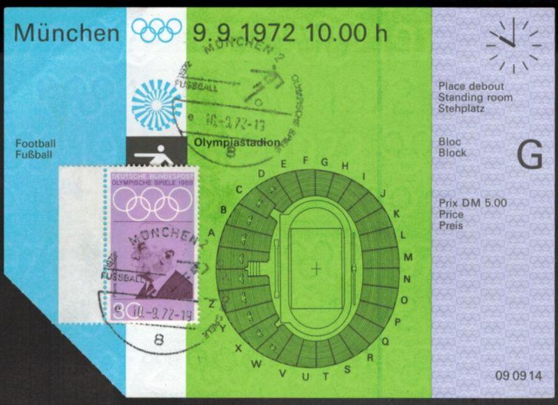Original Ticket Eintrittskarte Olympia München 1972 Fußball Sport de Courbertin