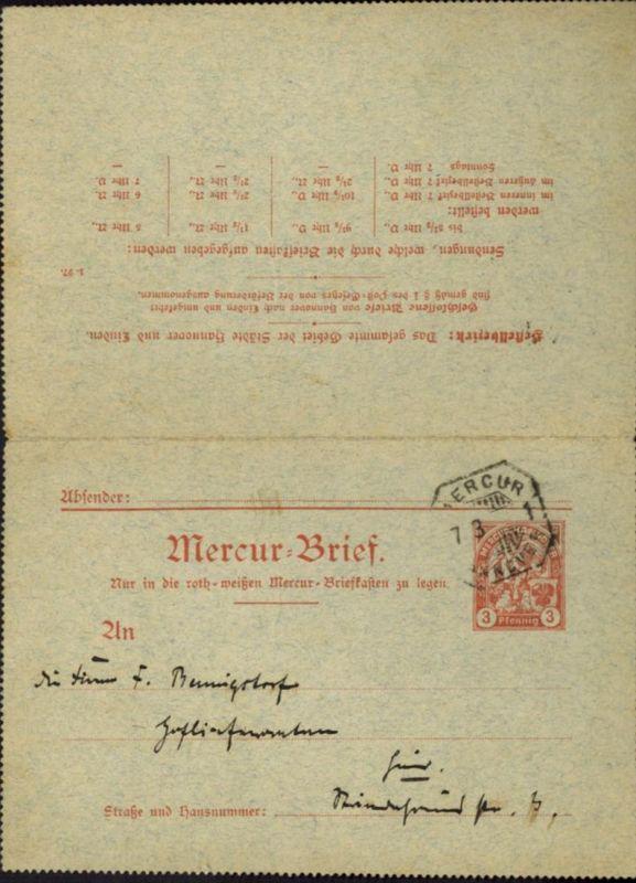 Stadtpost Privatpost Hannover Mercur Ganzsache K 16 Stadtwappen Kirche 1897