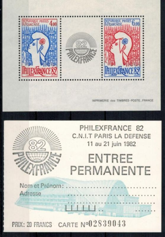 Frankreich Block 6 Briefmarkenausstellung Philexfrance mit Eintrittskarte 1982