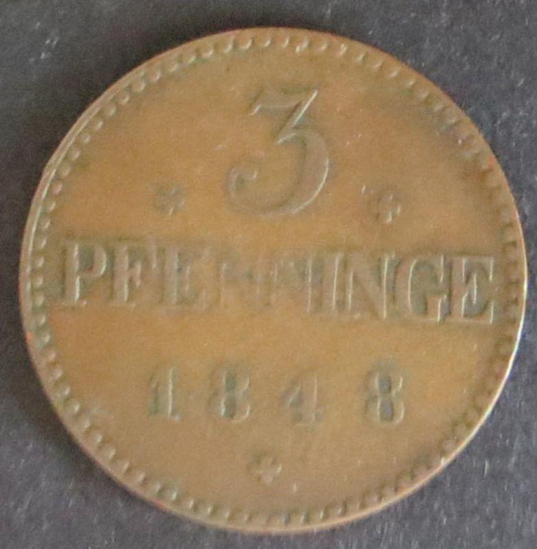 Münze Mecklenburg-Schwerin 3 Pfenninge 1848 sehr schön AKS: 47 Friedrich Franz