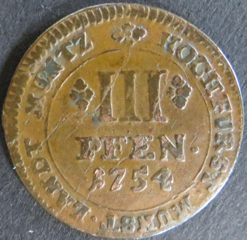 Münze Münster Hochstift 1754, III Pfennig Gekröntes Spiegelmonogramm vz