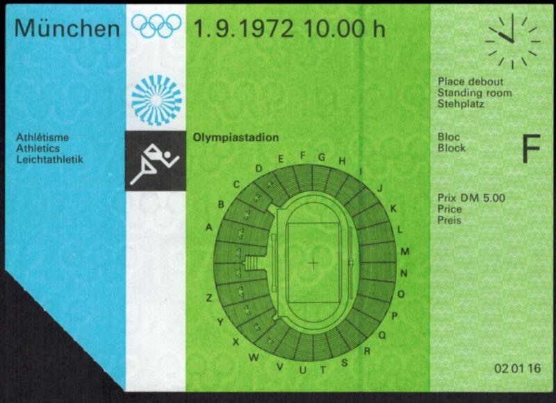 Original Ticket Eintrittskarte Olympiastadion München1972 Leichtathletik Sport