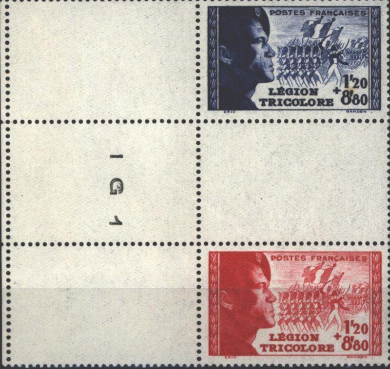 Frankreich 576-577 Légion Tricolore 1942 Dreierstreifen vom Rand mit DV ** MNH