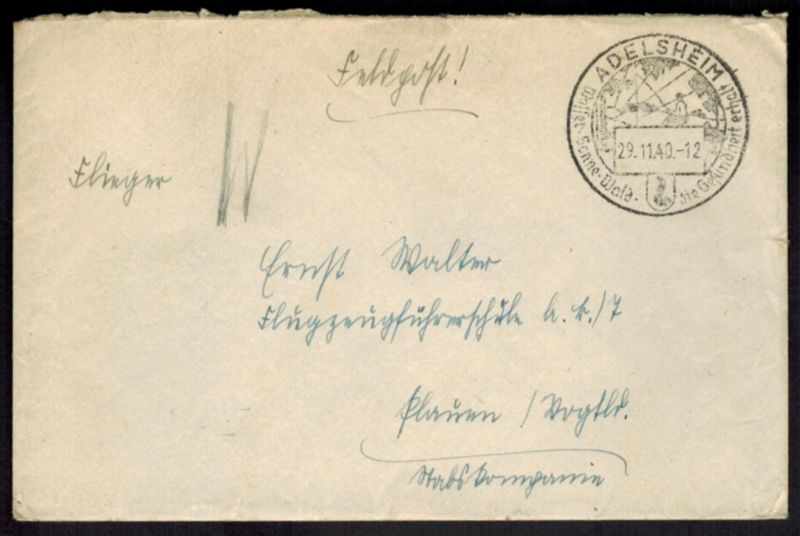 Deutsches Reich Brief Feldpost schöner Stempel Adelsheim mit Motiv Angler 1940