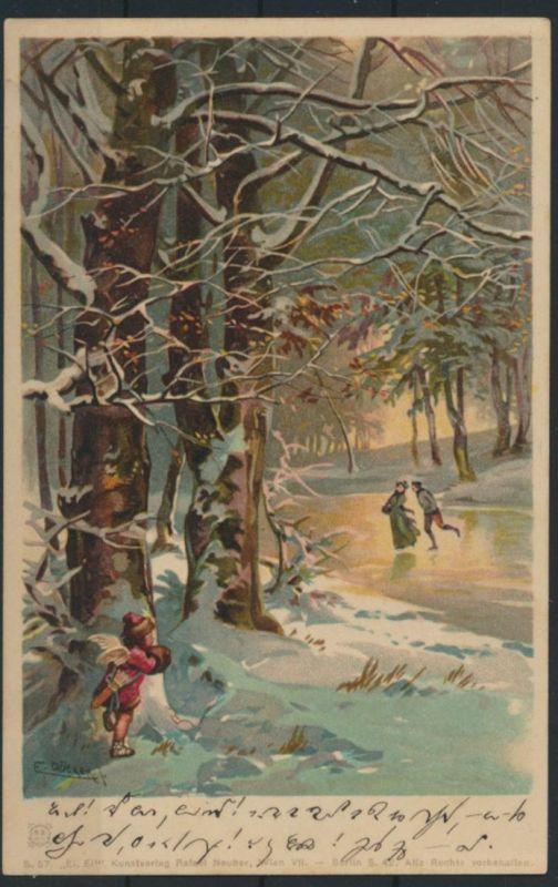 Ansichtskarte Künstler Winter Sport Eislaufen sign. F. Döcker München Serie 57