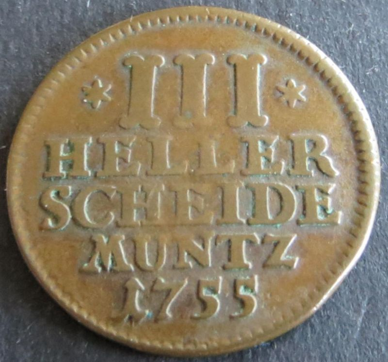 Münze Hessen-Kassel 1755 - III Heller Scheidemuntz Wilhelm VIII. s