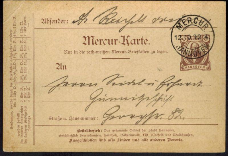 Stadtpost Privatpost Hannover Mercur Ganzsache P 7 Stadtdirektor Haltenhoff 1892