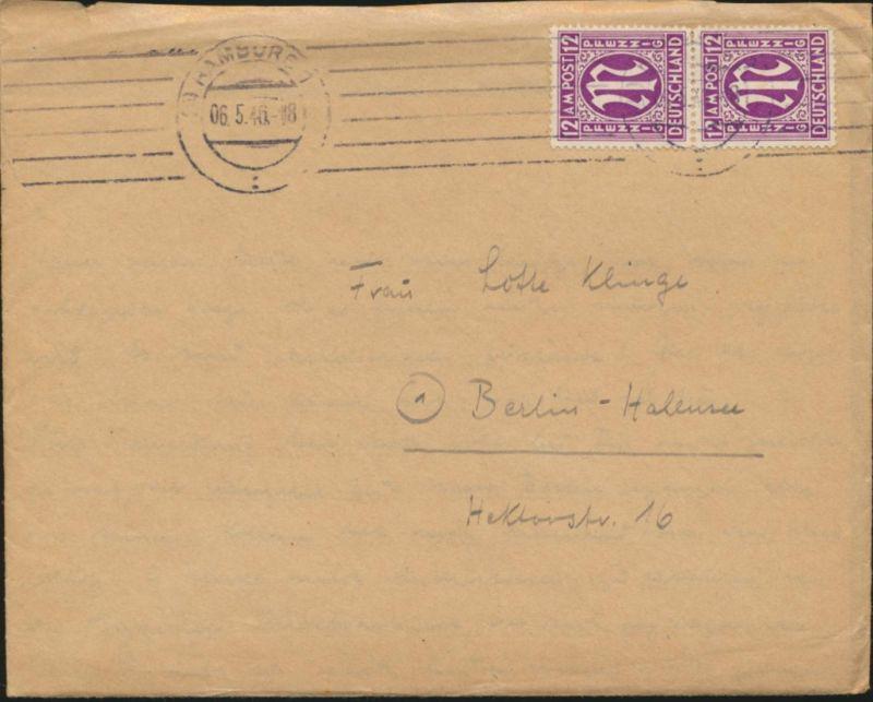 Brief Bizone AM-Post MEF 15 F y senkrechtes Paar Hamburg nach Berlin mit Inhalt