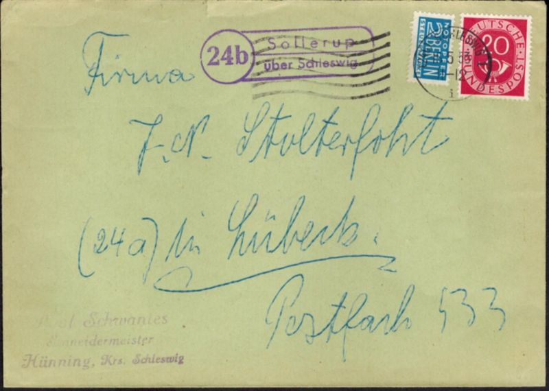 Brief Bund Posthorn Landpoststempel Sollerup Schleswig n. Lübeck