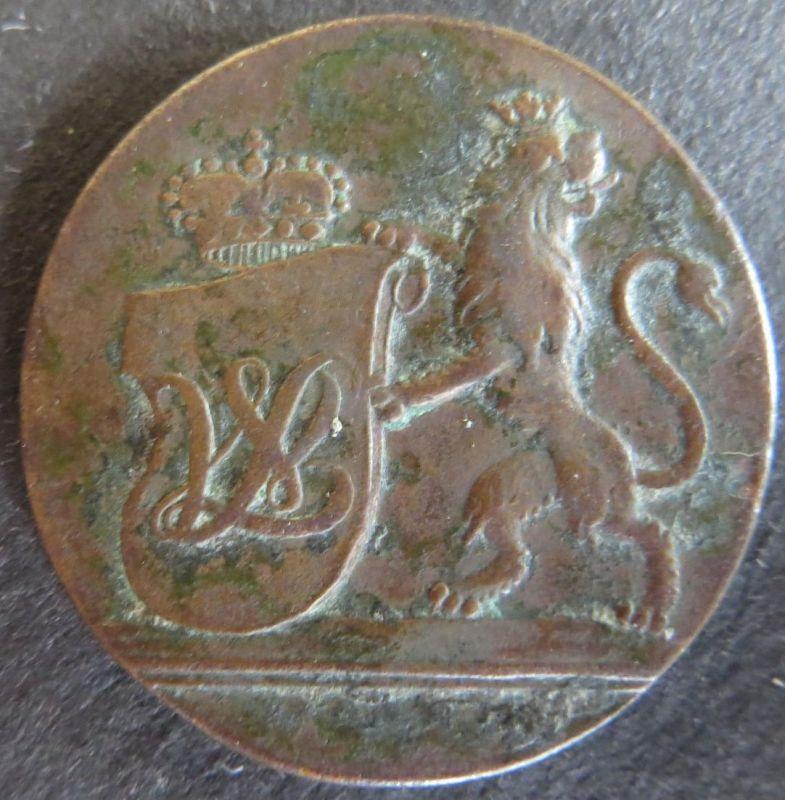Münze Hessen-Kassel 1794 - 4 Heller Gekrönter Löwe mit Monogrammschild s+