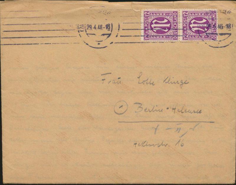 Brief Bizone AM-Post MEF 15 Fy Paar Hamburg nach Berlin Halensee mit Inhalt