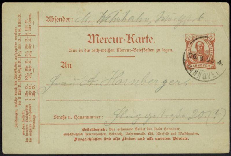 Stadtpost Privatpost Hannover Mercur Ganzsache P 9 Stadtdirektor Haltenhoff 1894