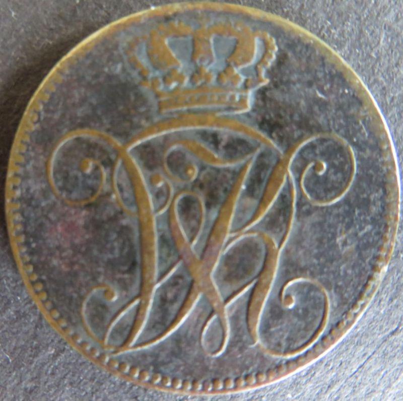 Münze Hessen-Kassel 1831 - 4 Heller Gekröntes Monogramm s+