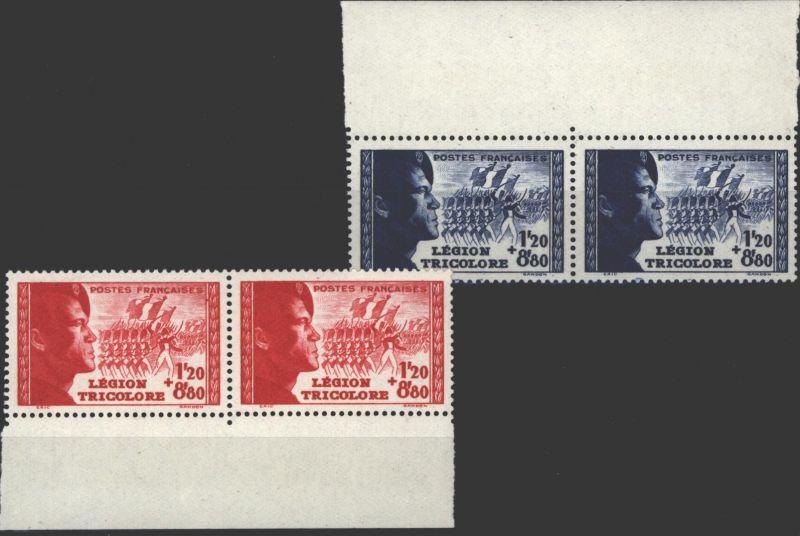 Frankreich 576-577 Légion Tricolore 1942 jeweils als Randpaar postfrisch MNH **
