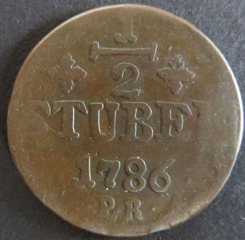 Münze Jülich-Berg 1786 - 1/2 Stüber Monogramm s-ss