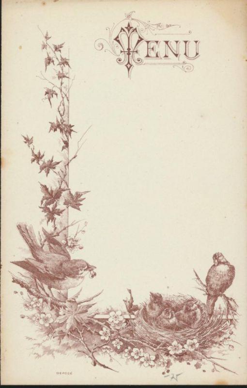 Original alte Menukarte um 1890 Tiere Vögel Vogelnest unbeschrieben