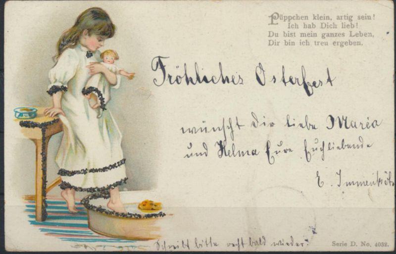 Ansichtskarte Künstler Kind mit Puppe Glitzer Werl nach Bonn