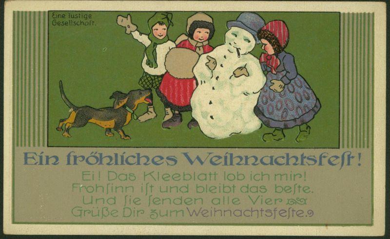 Ansichtskarte Weihnachten Art - Deco Künstler - Prägekarte Kleeblatt 20er Jahre
