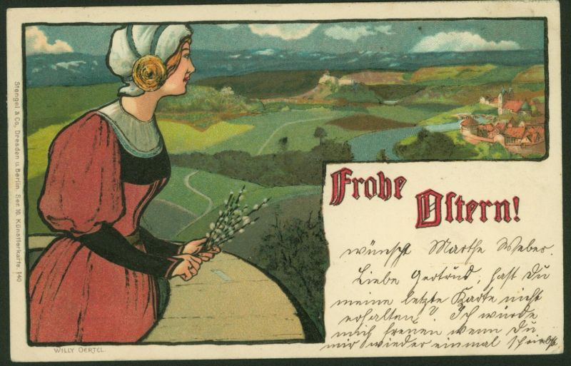 Ansichtskarte Künstler Litho sign. Willy Oertel Glückwunsch Ostern Dresden 1912