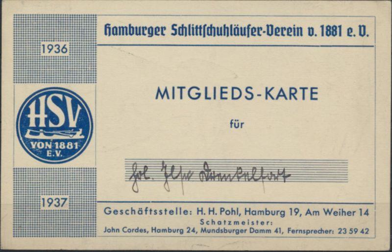 Deutsches Reich Mitgliedskarte Hamburger Schlittschuhläufer-Verein 1936/1937