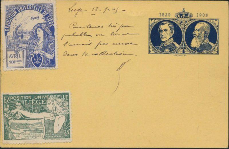 Belgien postal stationary Ganzsache + ZuF + 2 Vignetten Ausstellung Liege Paris