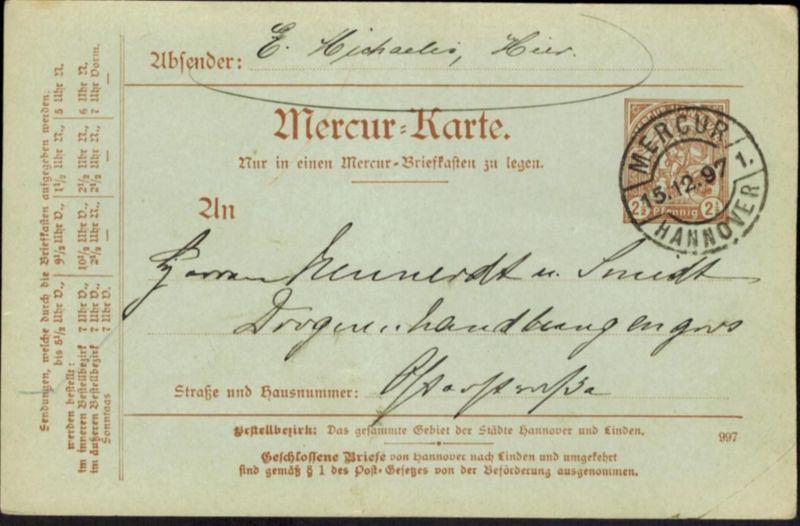 Stadtpost Privatpost Hannover Mercur Ganzsache P 15 V Stadtwappen Kirche 1896