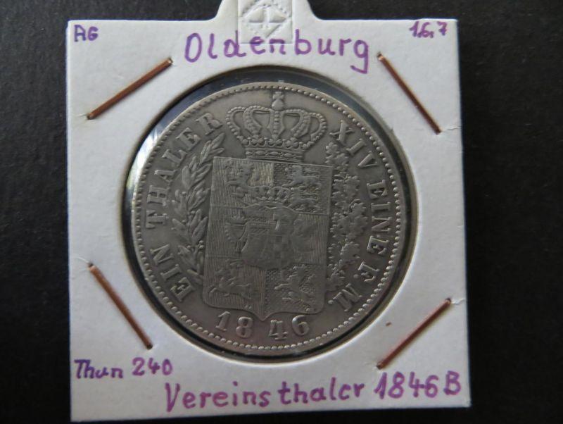 Münze Altdeutschland Oldenburg 1846 1. Vereinstaler Großherzog pF August vz