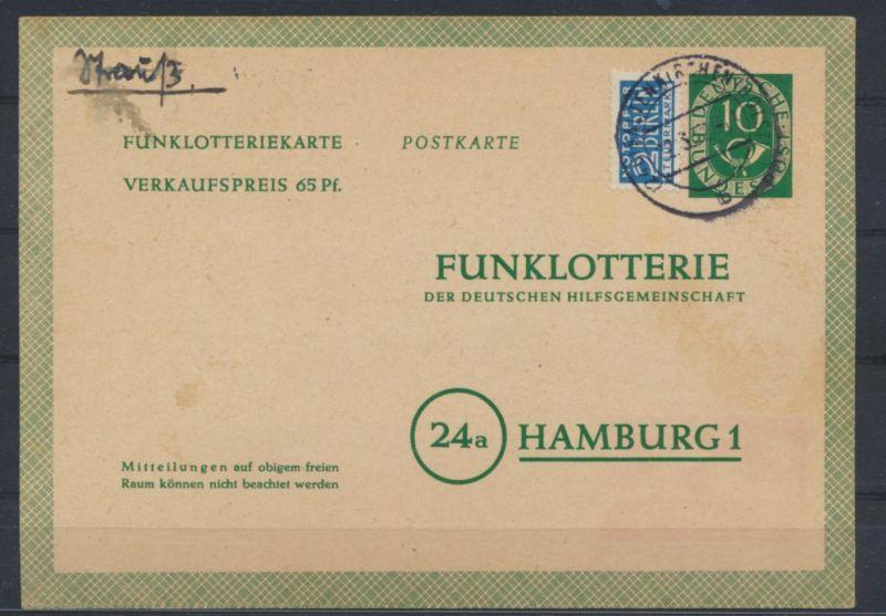 Bund Ganzsache FP 3 Funklotterie Kaltenkirchen Holstein Hamburg 2.5.1952