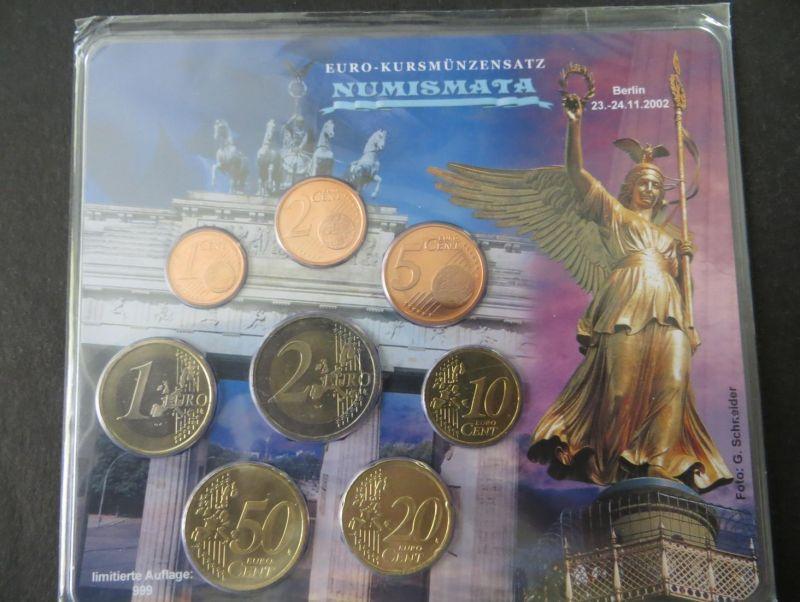 Euro Kursmünzensatz Numismata 2002 A limitiert 999 Stück Brandenburger Tor