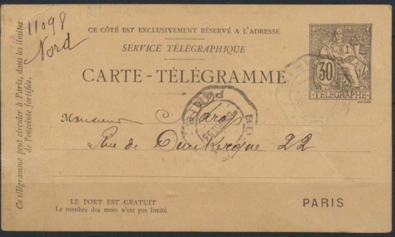Frankreich Ganzsache Rohrpost-Postkarte RP 15 Telegraphenstempel Paris 1893