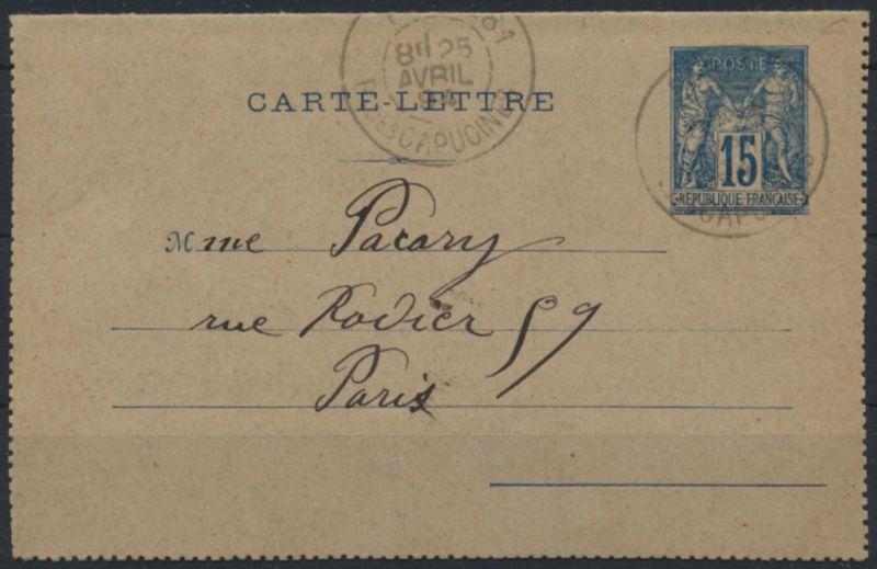 Frankreich Ganzsache Kartenbrief K 6 ab Paris 25.4.1894